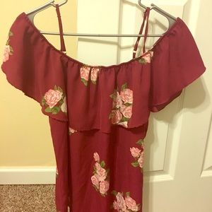 Over the shoulder Floral Blouse with Ruffle